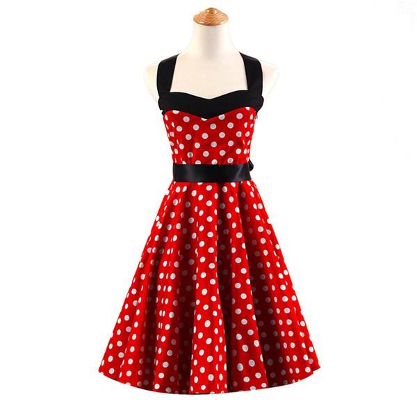 Vintage Sleeveless 1950s Inspired Halter Evening Polka Dot Rockabilly Dresses CF1006 Red