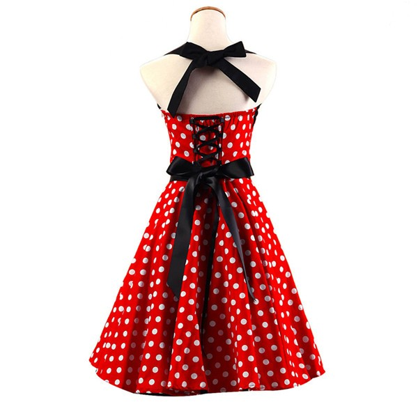 Vintage Sleeveless 1950s Inspired Halter Evening Polka Dot Rockabilly Dresses CF1006 Red_02