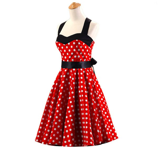 Vintage Sleeveless 1950s Inspired Halter Evening Polka Dot Rockabilly Dresses CF1006 Red_01