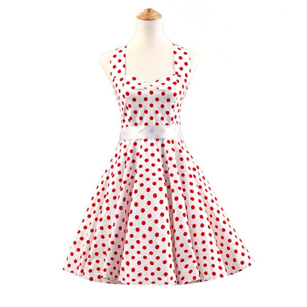 Vintage Sleeveless 1950s Inspired Halter Evening Polka Dot Rockabilly Dresses CF1006 Red White