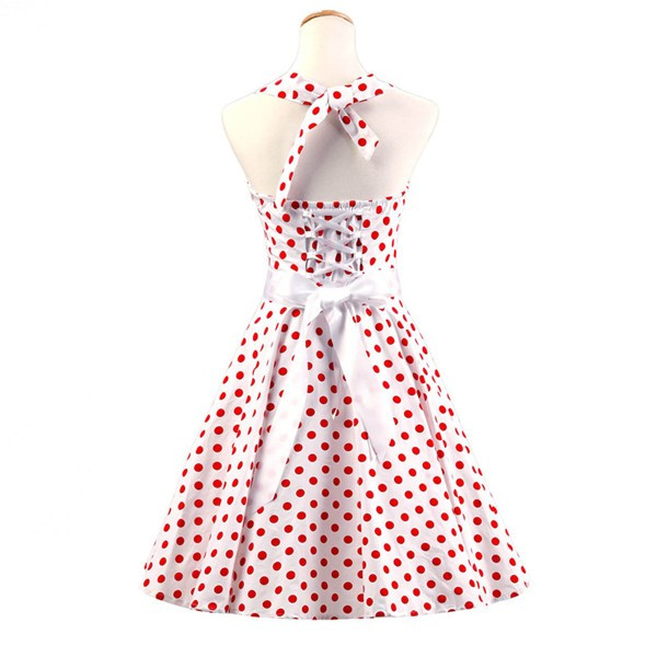 Vintage Sleeveless 1950s Inspired Halter Evening Polka Dot Rockabilly Dresses CF1006 Red White_02
