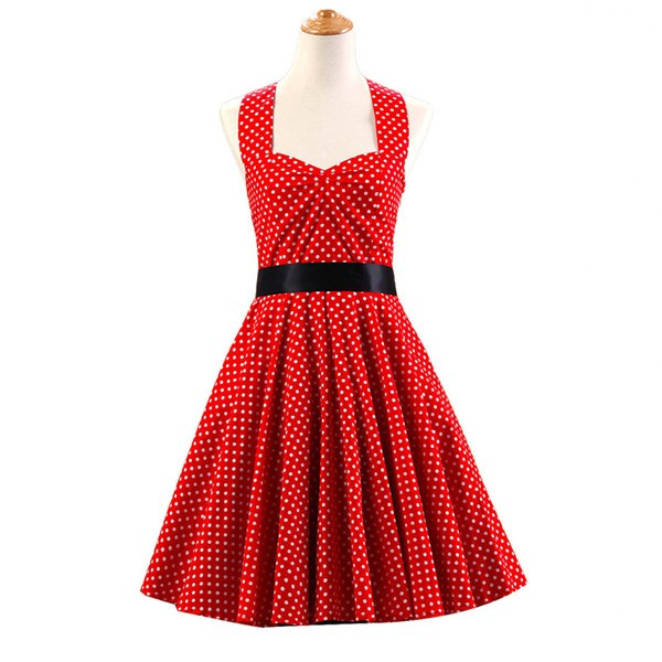 Vintage Sleeveless 1950s Inspired Halter Evening Polka Dot Rockabilly Dresses CF1006 Red White Dot