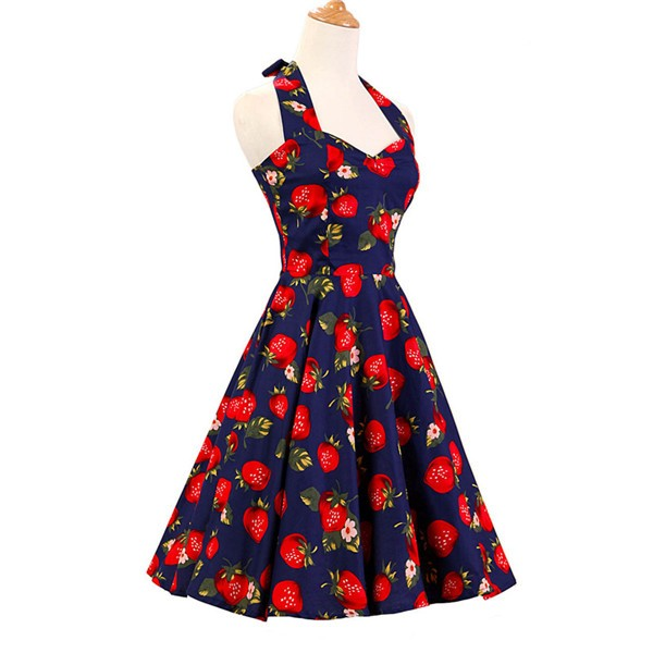Vintage Sleeveless 1950s Inspired Halter Evening Polka Dot Rockabilly Dresses CF1006 Strawberry_01