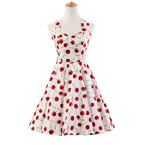 Vintage Sleeveless 1950s Inspired Halter Evening Polka Dot Rockabilly Dresses CF1006 White Cherry