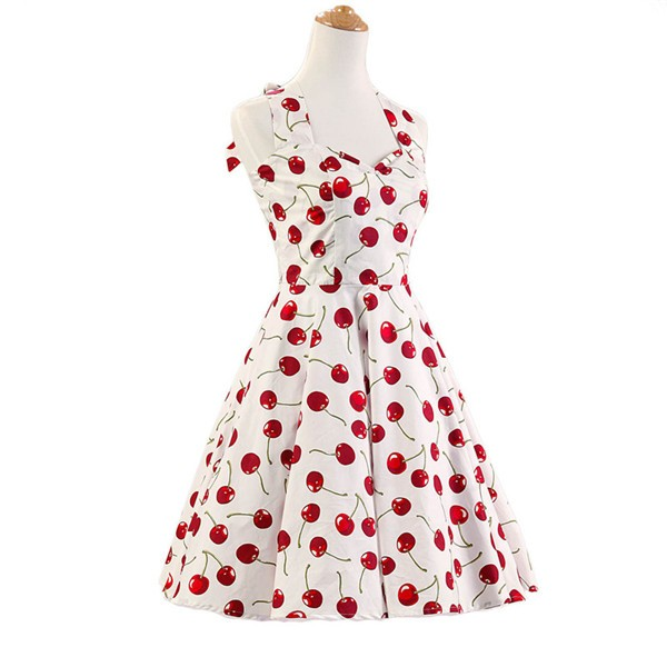 Vintage Sleeveless 1950s Inspired Halter Evening Polka Dot Rockabilly Dresses CF1006 White Cherry_01