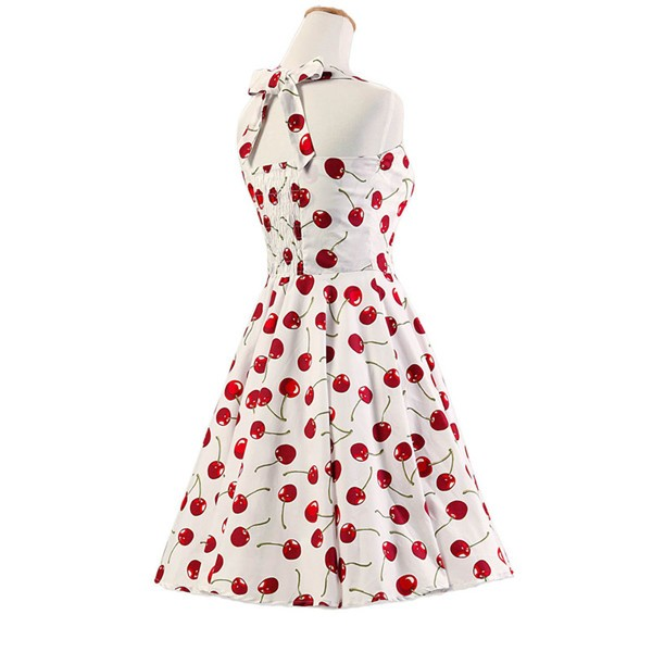 Vintage Sleeveless 1950s Inspired Halter Evening Polka Dot Rockabilly Dresses CF1006 White Cherry_02