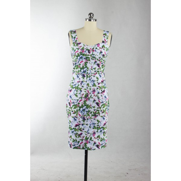Vintage Sweetheart Neck with Straps Floral Rockabilly Bodycon Pencil Dress CF1263_05