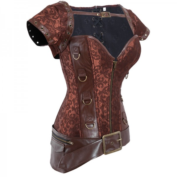 Vintage Victorian Retro Goth Steel Boned Brocade Steampunk Warrior Corset CF8005 Coffee_02