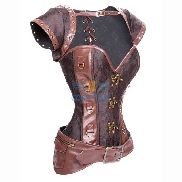 Vintage Victorian Steel Boned Brocade Steampunk Brown Waist Training Corsets CF8006_01