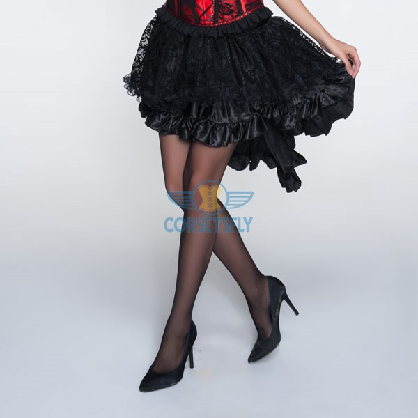 Voluminous Multiple Frilly Layers Shaped Hem Long Tail Black Skirt CF6507
