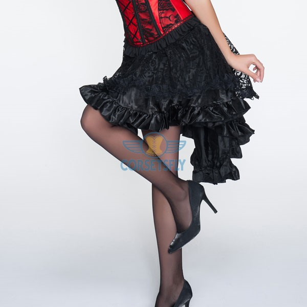 Voluminous Multiple Frilly Layers Shaped Hem Long Tail Black Skirt CF6507_01