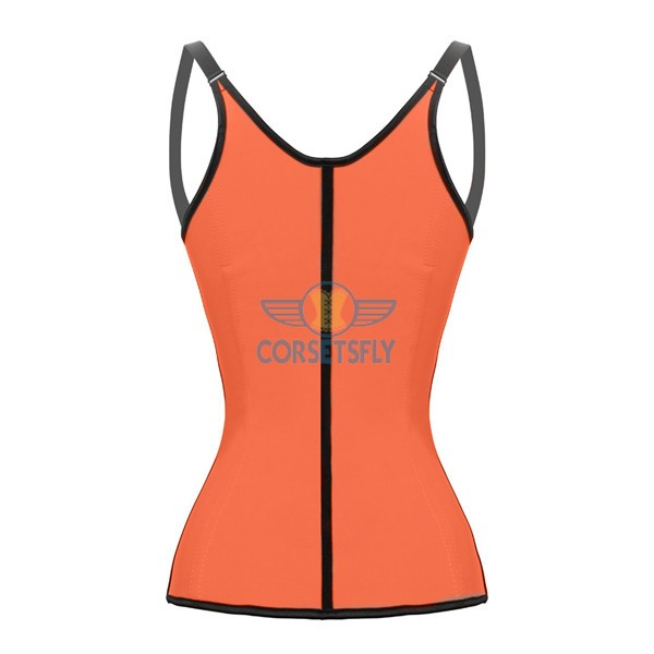 Waist Trainer Latex Workout Cincher Hourglass Corset with Adjustable Straps CF9054 Orange_01