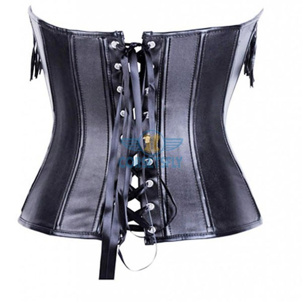 Wet Look Faux Leather Steampunk with Tassel Embellishments Overbust Corset CF7224_01