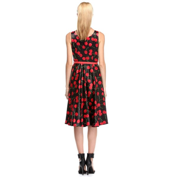 Women 1950s Cherry Vintage Sleeveless With Belt Ball Picnic Dress CF1405 red black cherry_02