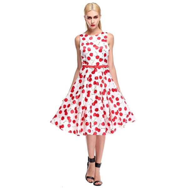 Wholesale Women 1950s Cherry Vintage Sleeveless With Belt Ball Picnic Dress Cf1405