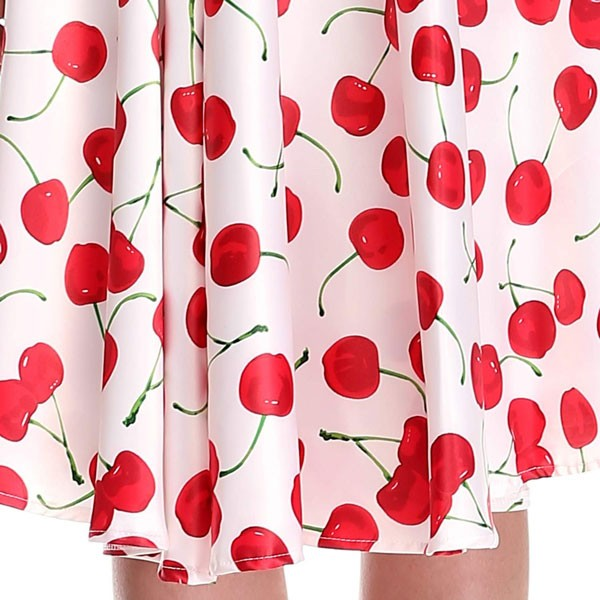 Women 1950s Cherry Vintage Sleeveless With Belt Ball Picnic Dress CF1405 red white cherry_02