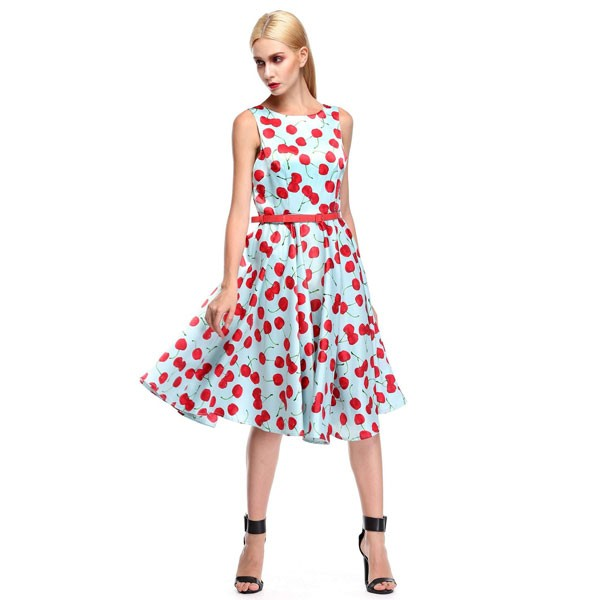 Women 1950s Cherry Vintage Sleeveless With Belt Ball Picnic Dress CF1405 red blue cherry_01