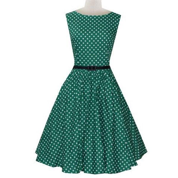 Women 1950s Dot Party Picnic With Belt Plus Size Dress CF1371 green