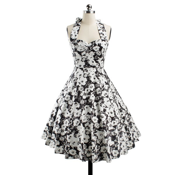 Women 1950s Floral Halter Swing Vintage Retro Tea Cocktail Dress CF1203 black white