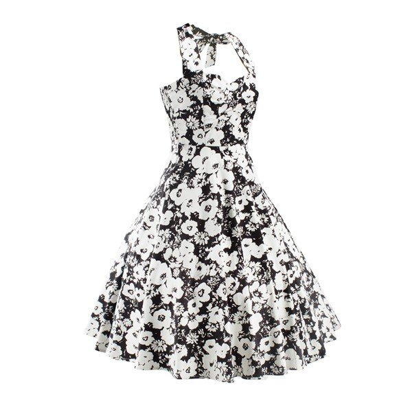 Women 1950s Floral Halter Swing Vintage Retro Tea Cocktail Dress CF1203 black white_003