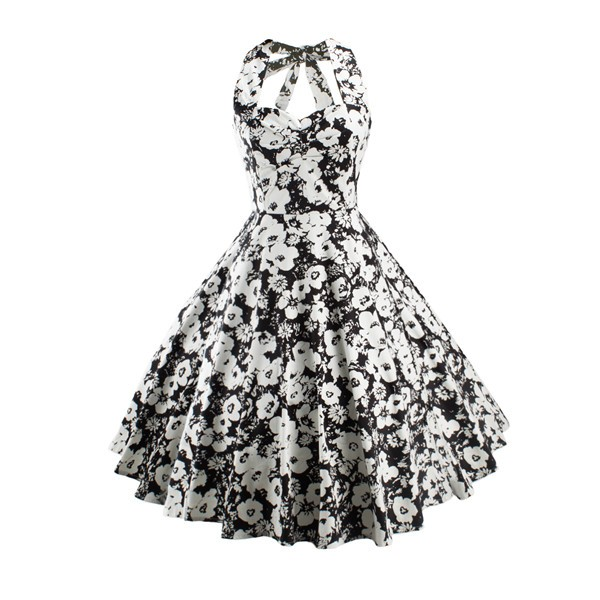 Women 1950s Floral Halter Swing Vintage Retro Tea Cocktail Dress CF1203 black white_01