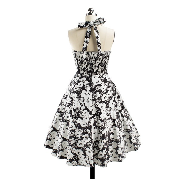 Women 1950s Floral Halter Swing Vintage Retro Tea Cocktail Dress CF1203 black white_04