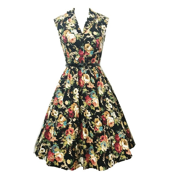 Women 1950s Floral Rockabillty Picnic With Belt Plus Size Dress CF1363 multi_02