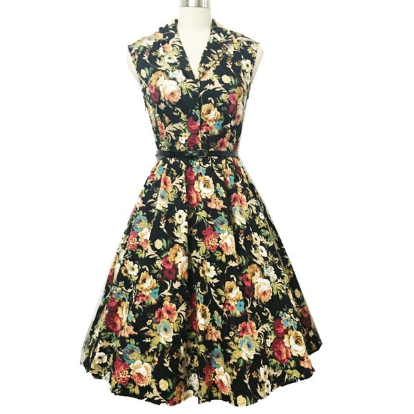 Women 1950s Floral Rockabillty Picnic With Belt Plus Size Dress CF1363 multi