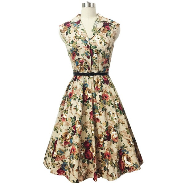 Women 1950s Floral Rockabillty Picnic With Belt Plus Size Dress CF1363 multi_