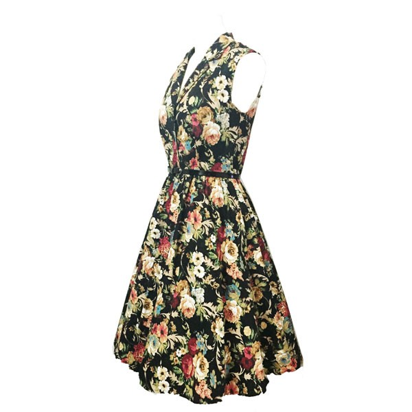 Women 1950s Floral Rockabillty Picnic With Belt Plus Size Dress CF1363 multi_04