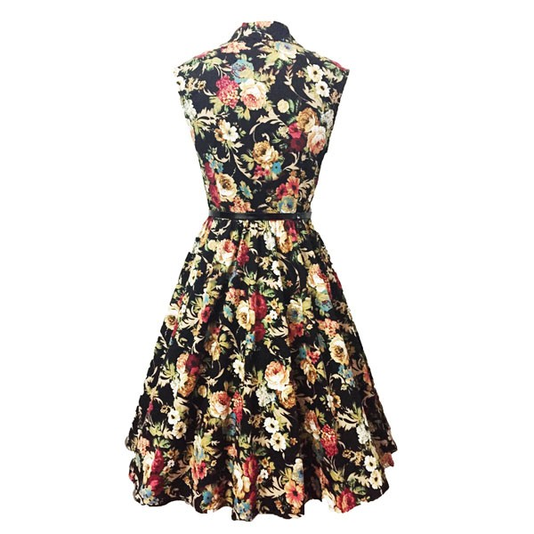 Women 1950s Floral Rockabillty Picnic With Belt Plus Size Dress CF1363 multi_01