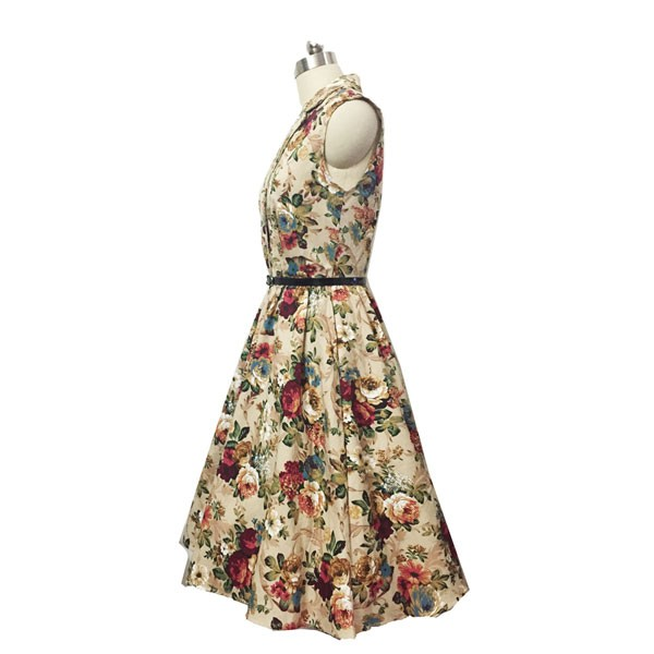 Women 1950s Floral Rockabillty Picnic With Belt Plus Size Dress CF1363 multi_08