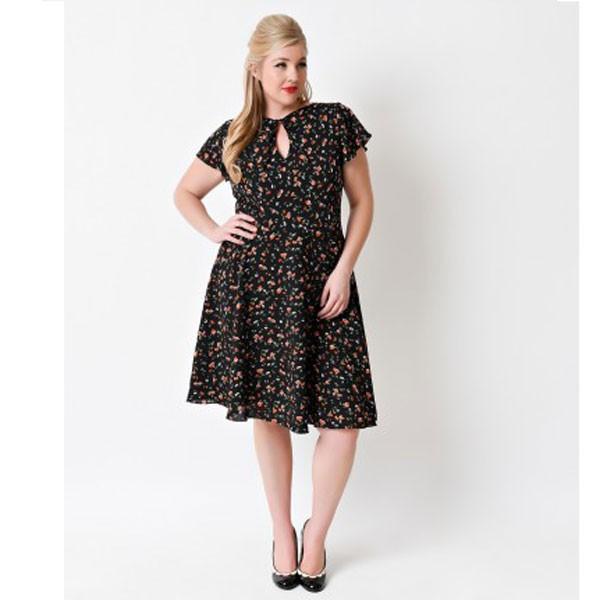 Women 1950s Floral Rockabillty Short Sleeve Garden Plus Size Dress CF1369