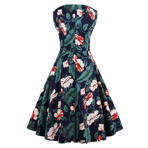Women 1950s Floral Rockabillty Sleeveless Picnic Plus Size Dress CF1377  multi_01