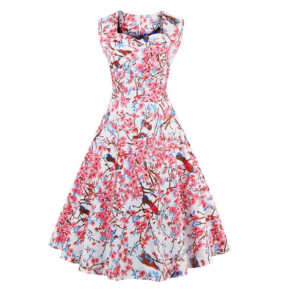 Women 1950s Floral Rockabillty Sleeveless Picnic Plus Size Dress CF1377  pink flower