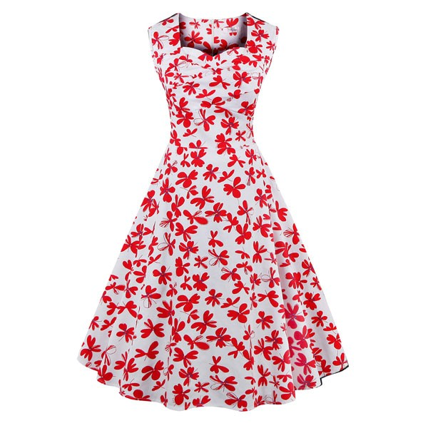 Women 1950s Floral Rockabillty Sleeveless Picnic Plus Size Dress CF1377 red flower