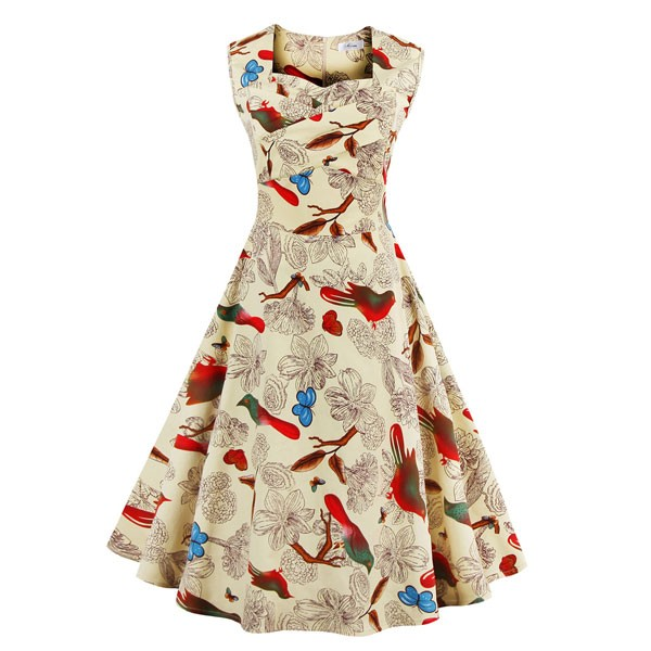 Women 1950s Floral Rockabillty Sleeveless Picnic Plus Size Dress CF1377  beige