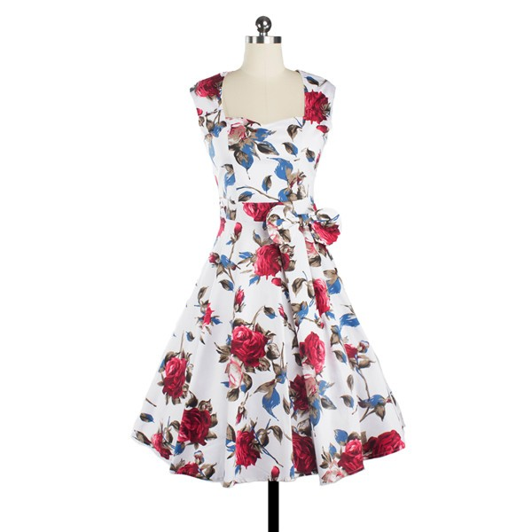 Women 1950s Floral Rockabilly Swing Retro Cap Sleeve Party Dress CF1207 red flower