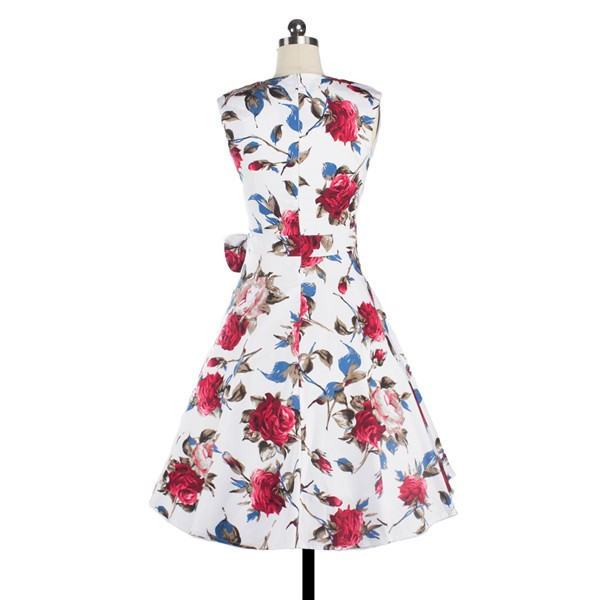 Women 1950s Floral Rockabilly Swing Retro Cap Sleeve Party Dress CF1207 red flower_02