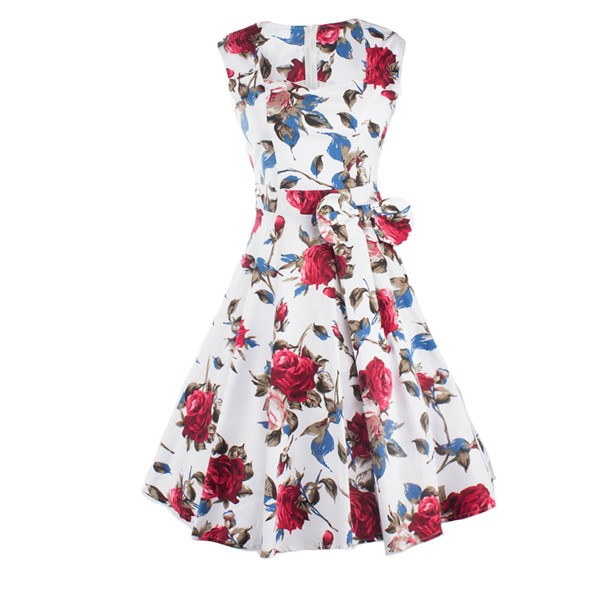 Women 1950s Floral Rockabilly Swing Retro Cap Sleeve Party Dress CF1207 red flower_03