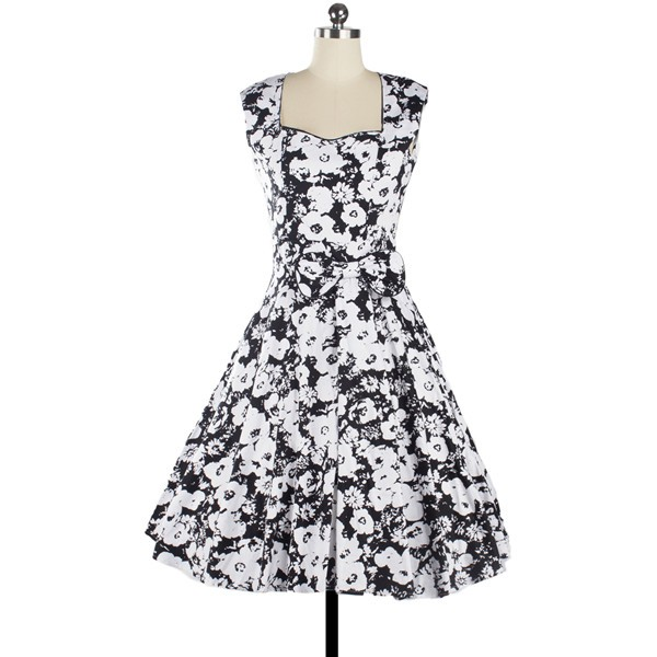 Women 1950s Floral Rockabilly Swing Vintage Cap Sleeve Evening Dress CF1208 white flower