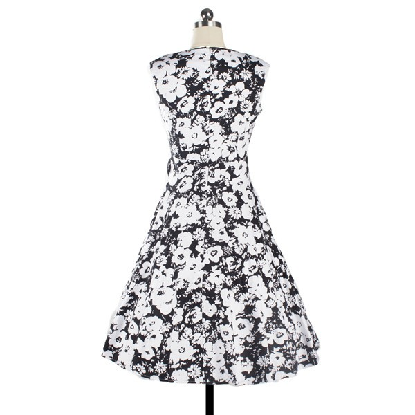 Women 1950s Floral Rockabilly Swing Vintage Cap Sleeve Evening Dress CF1208 white flower_01
