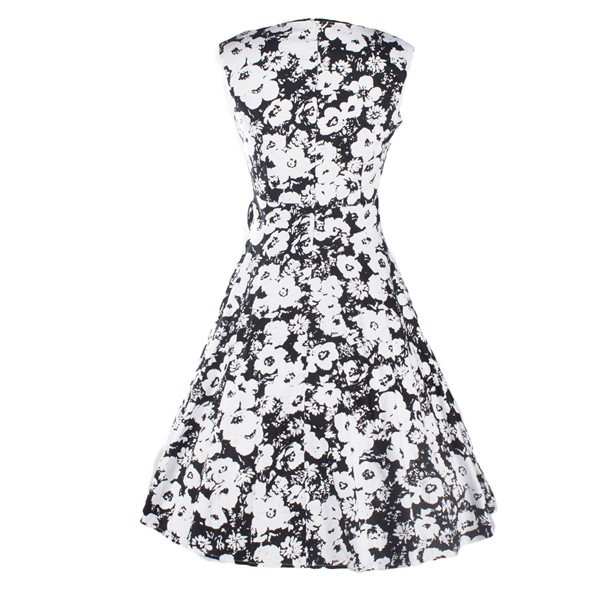 Women 1950s Floral Rockabilly Swing Vintage Cap Sleeve Evening Dress CF1208 white flower_03
