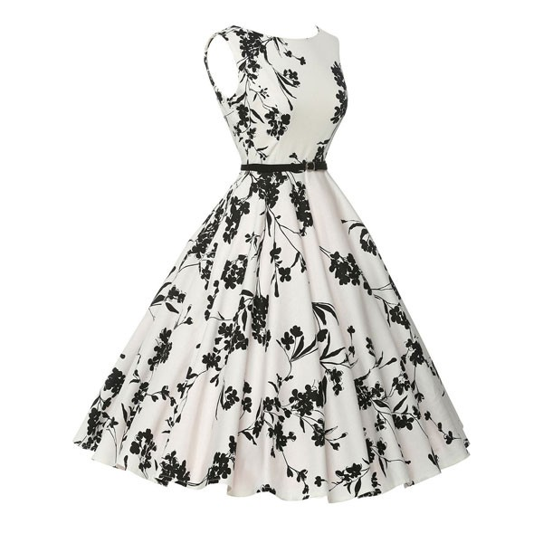 Women 1950s Floral Sleeveless Swing Vintage Retro Party Picnic Dress CF1201 black white_02