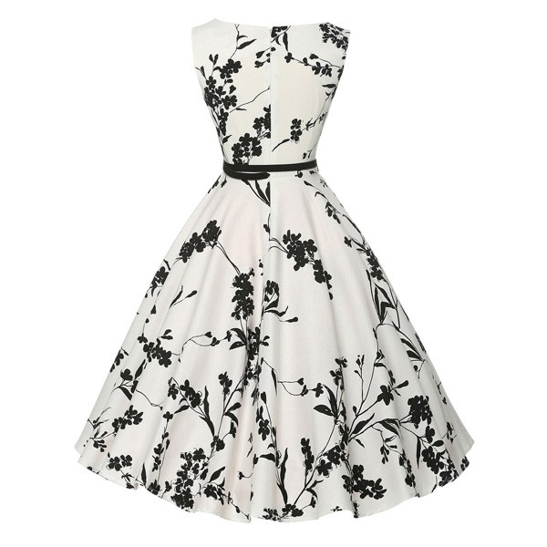 Women 1950s Floral Sleeveless Swing Vintage Retro Party Picnic Dress CF1201 black white_03