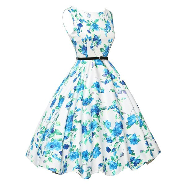 Women 1950s Floral Sleeveless Swing Vintage Retro Party Picnic Dress CF1201 blue_02