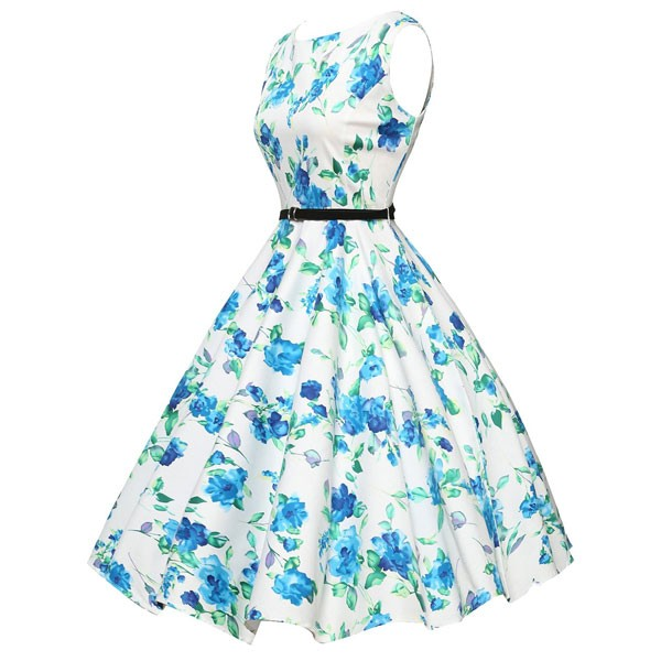 Women 1950s Floral Sleeveless Swing Vintage Retro Party Picnic Dress CF1201 blue_01