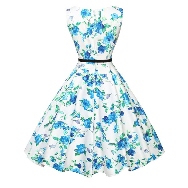 Women 1950s Floral Sleeveless Swing Vintage Retro Party Picnic Dress CF1201 blue_03