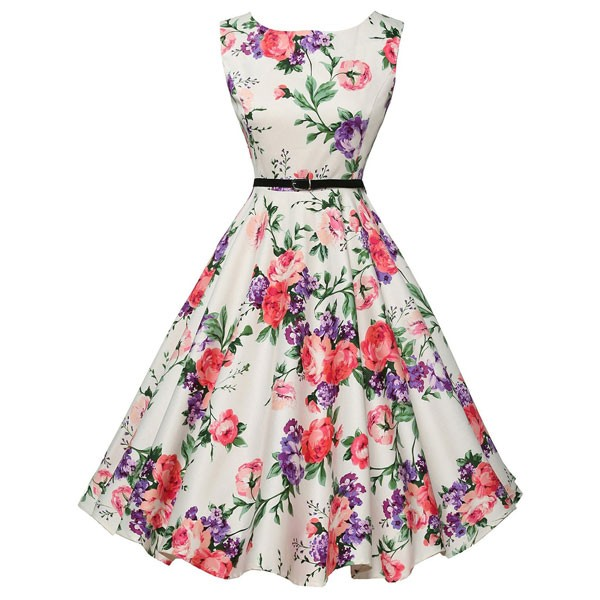 Women 1950s Floral Sleeveless Swing Vintage Retro Party Picnic Dress CF1201 pink flower