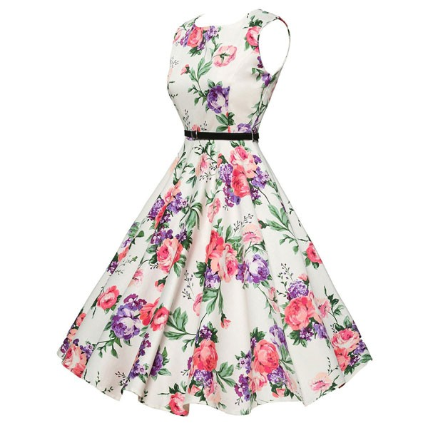 Women 1950s Floral Sleeveless Swing Vintage Retro Party Picnic Dress CF1201 pink flower_02